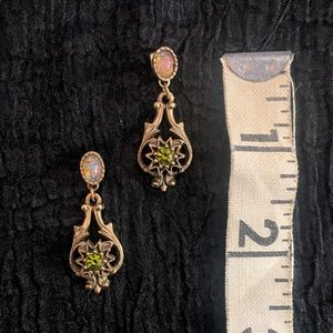 Vintage Sarah Coventry Peridot & opal earrings